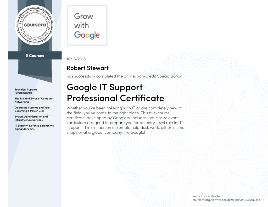 Google It Support Professional Certificate Digialitay